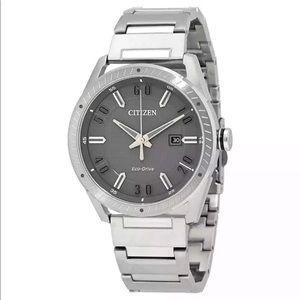 Citizen men's watch eco-drive silver NWT